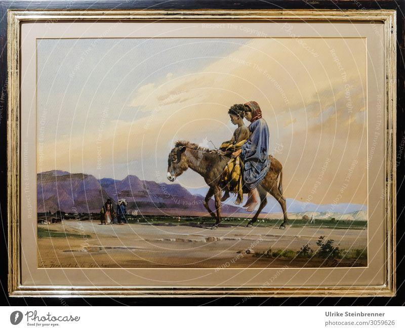 Gustav Bauernfeind: In the Jordan Valley near Jericho, Watercolour Human being Masculine Feminine Girl Boy (child) 2 8 - 13 years Child Infancy Art Artist