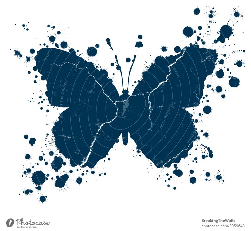 Grunge butterfly shape and paint blobs splattered Blue White Art Dirty Illustration Drop Painting and drawing (object) Butterfly Crack & Rip & Tear Work of art