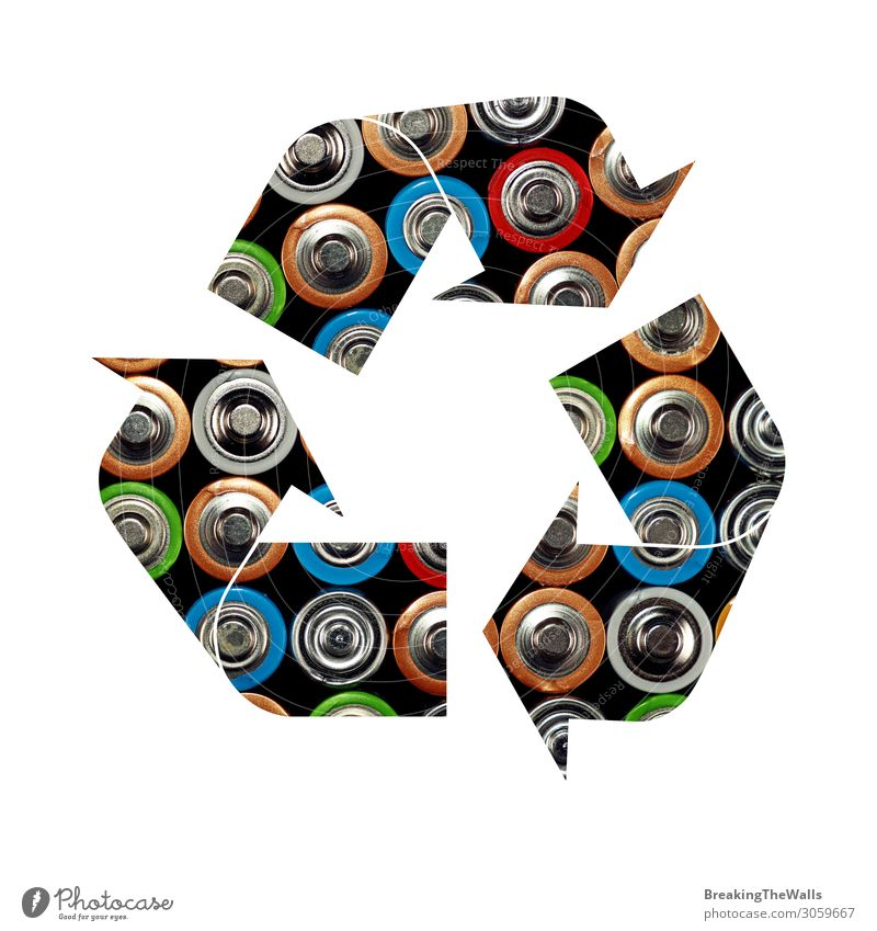 Recycling symbol of alkaline batteries Green White Environment Energy industry Signs and labeling Signage Industry Illustration Clean Protection