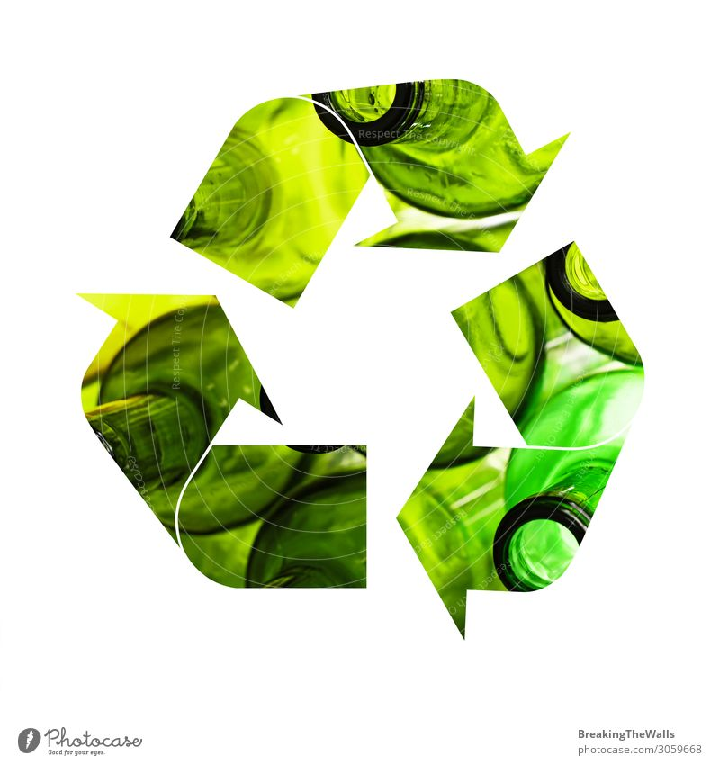 Illustration of recycling symbol of glass bottles Green White Environment Glass Industry Sign Protection Symbols and metaphors Arrow Trash Bottle Ecological