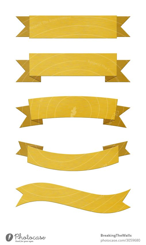 Set of brushed gold metal ribbon banners Design Decoration Award ceremony Certificate Collection Metal Gold Exceptional Yellow White Banner Bronze Brass
