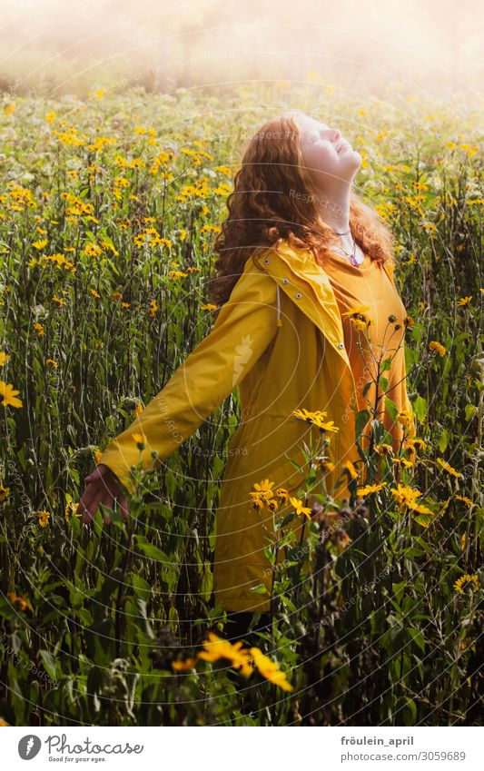 sun child Summer Feminine Young woman Youth (Young adults) 1 Human being 18 - 30 years Adults Red-haired Yellow Portrait format Sunflower Colour photo