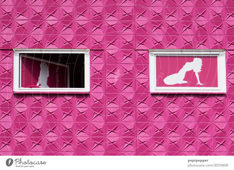 Human being Town House (Residential Structure) Window Wall (building) Feminine Tourism Wall (barrier) Facade Pink Work and employment Living or residing Sex