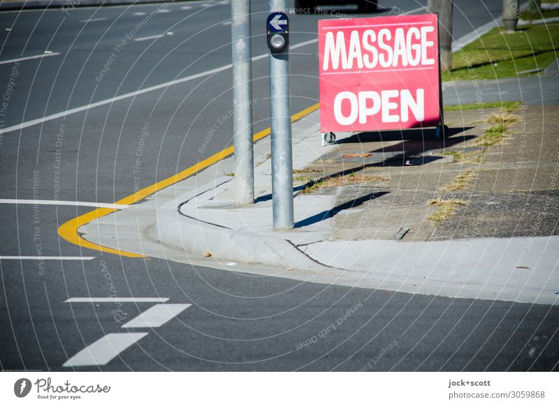 roadside massage Style Massage Far-off places Health care Traffic light Beautiful weather Queensland Crossroads Lane markings Roadside Sidewalk Key Word