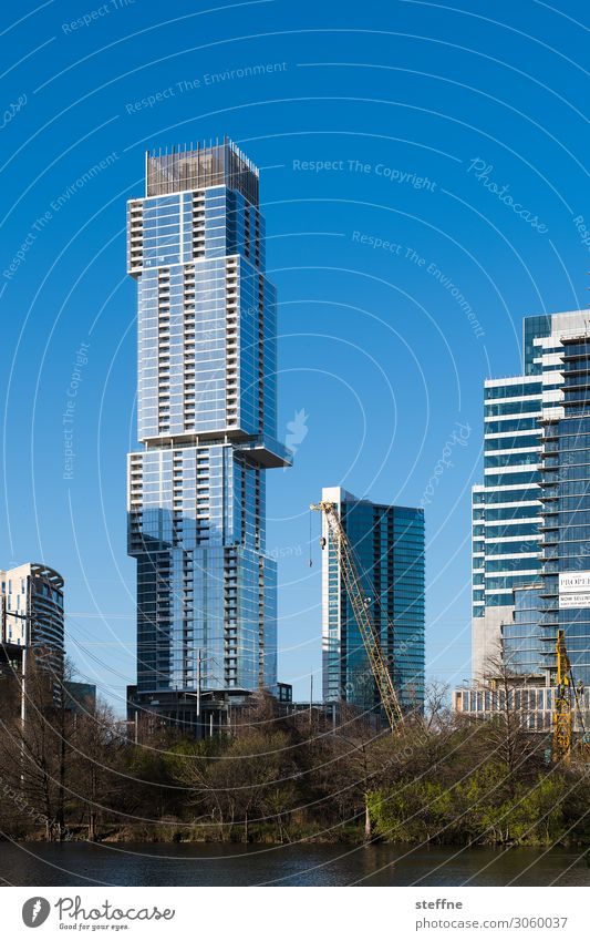 Town High-rise Beautiful weather USA Skyline Downtown River bank Build Office building Texas Modern architecture Austin