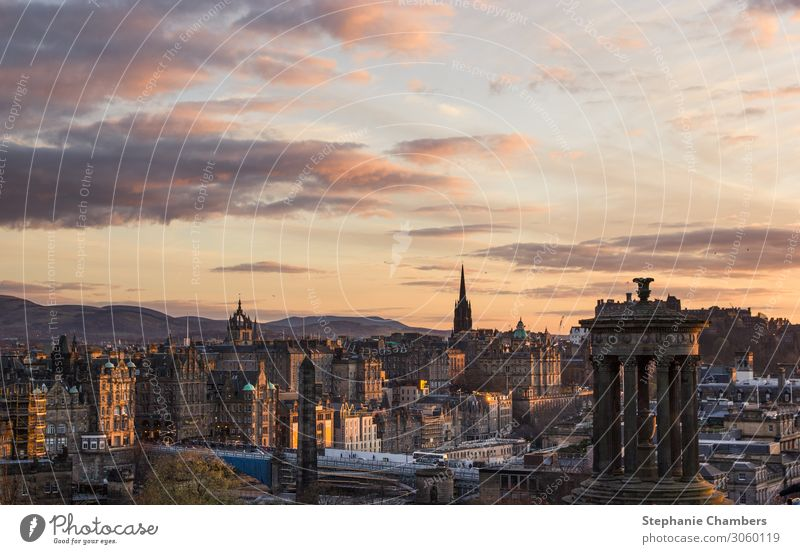View of Edinburgh at sunset Town Capital city Beautiful Landscape golden hour Calm Colour photo Exterior shot Evening Sunrise Sunset
