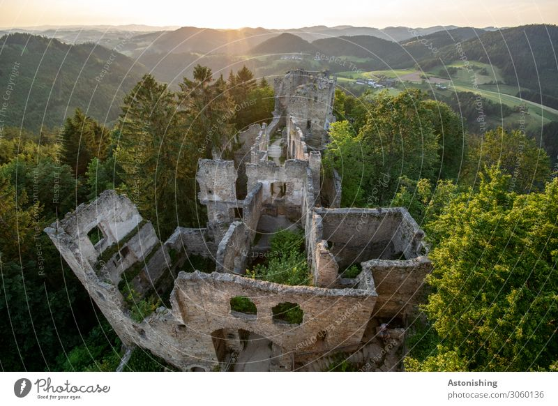 castle ruin Environment Nature Landscape Plant Air Sky Sun Sunrise Sunset Sunlight Summer Weather Beautiful weather Tree Hill Mountain Peak Overpopulated