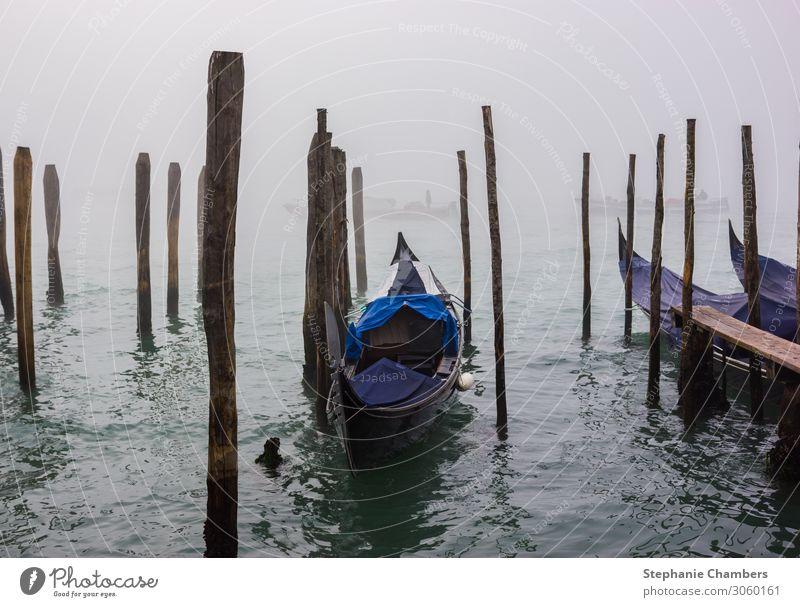 A gondola in a misty Venice. Calm Moody Fog City trip Still Life Atmosphere Gondola
