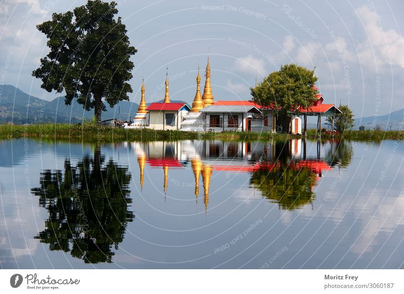 Pagoda in the mirroring Lake Inle, Myanmar/Burma. Vacation & Travel Culture Religion and faith Power Creativity Stagnating Moody Planning Tradition landmark