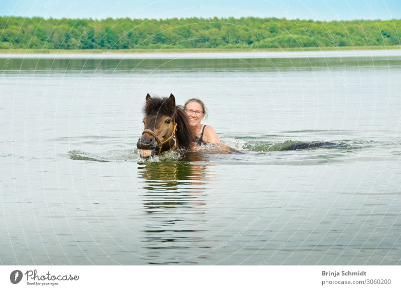 Seahorse passed! Joy Life Equestrian sports Woman Adults 1 Human being 45 - 60 years Landscape Water Summer Horse Animal Swimming & Bathing Laughter Authentic