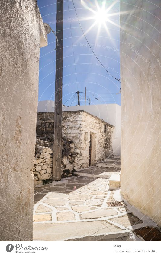 Greek old town Greece Old town Deserted Sun Bright Alley