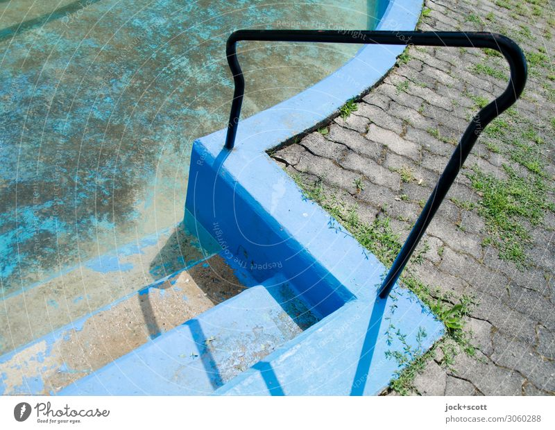 handrail lost places Beautiful weather Neukölln Swimming pool Stairs Banister Paving stone Concrete Curved Dirty Sharp-edged Firm Dry Under Blue Moody Calm