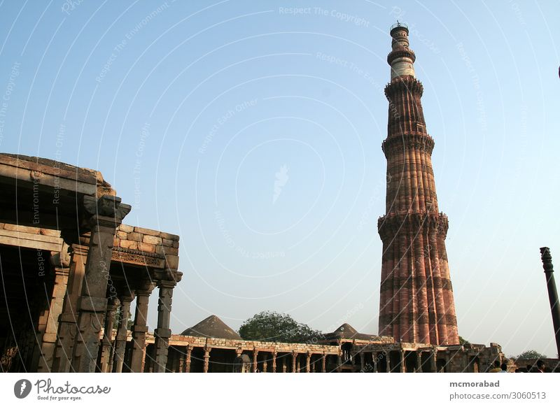 Qutub Minar, Delhi Vacation & Travel Sculpture Capital city Architecture Balcony Monument Authentic Tall Blue Brown Qutab Minar victory tower historical past