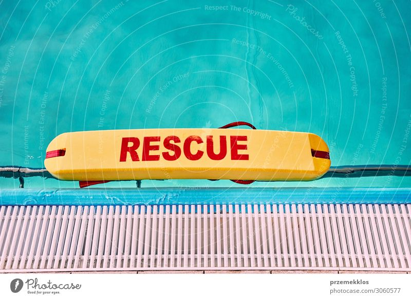 Lifesaver equipment on swimming pool Vacation & Travel Summer Blue Relaxation Lifestyle Sports Copy Space Leisure and hobbies Action Authentic Fitness Wet Clean