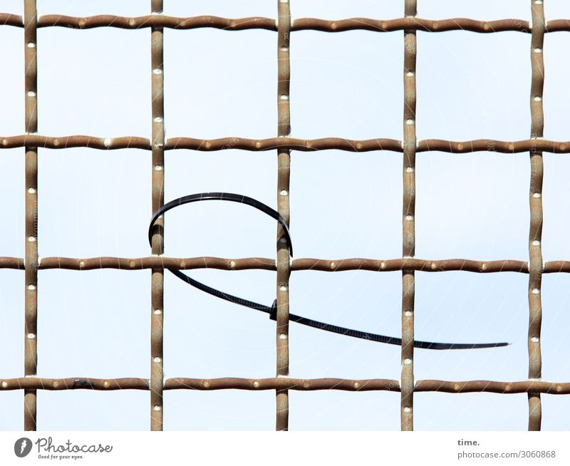 Stories of the fence (XX) Sky Fence Cable strap Metal Line Network Hang Firm Surprise Loneliness Puzzle Irritation Attachment Forget Colour photo Exterior shot