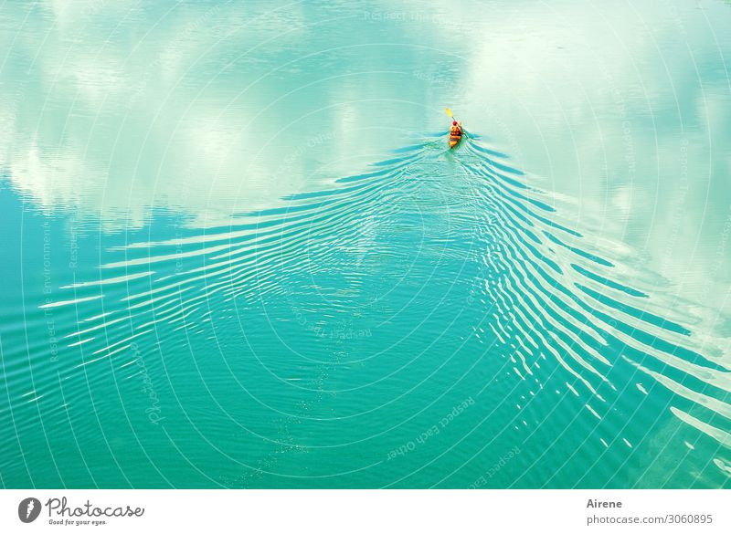 Human being Sky Water White Clouds Loneliness Calm Sports Movement Freedom Lake Orange Contentment Waves Elegant Power
