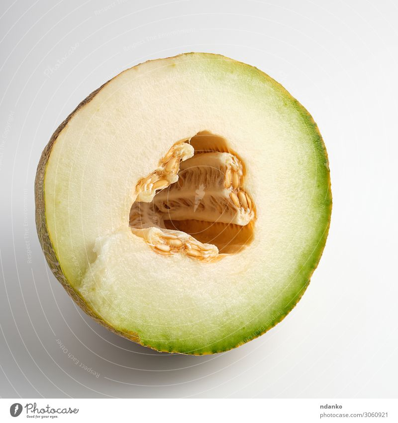 half of ripe yellow melon with seeds Nature Summer Plant Green White Eating Yellow Natural Fruit Nutrition Fresh Vegetable Dessert Vegetarian diet Diet Mature