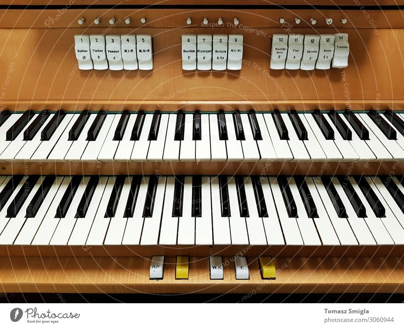 Pipe organ frontal shot, keyboard closeup Art Old Keyboard instrument keys Organ In pairs registers two keyboards Frontal Front view Musical instrument