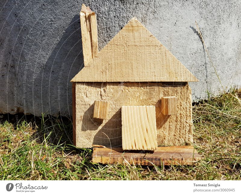 Handmade crafted wooden house symbol, do it yourself concept Design House (Residential Structure) Craft (trade) Nature Grass Building Architecture Toys Wood