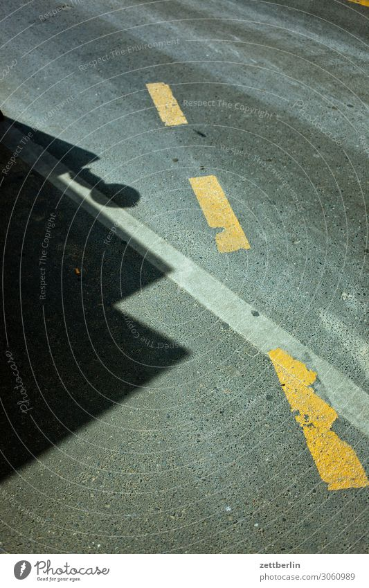 road marking Street Asphalt Construction site Diversion Tracks Signs and labeling Traffic lane Lane markings Light Shadow Deserted Copy Space Abstract Town