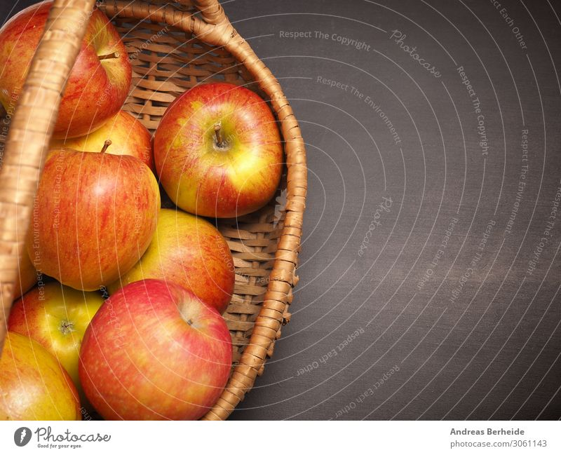Organic apples in a basket Fruit Apple Organic produce Healthy Eating Summer Delicious Sour organic self supply chalkboard blackboard copy space cultivation