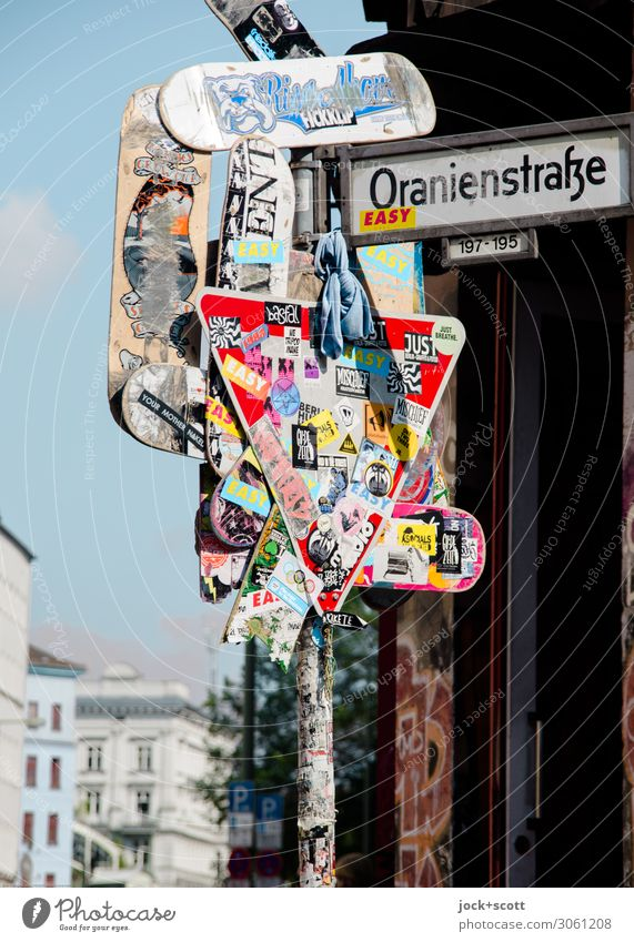 Art of the street City trip Street art Sky Kreuzberg Town house (City: Block of flats) Traffic infrastructure Road sign Street sign Collection Label Metal Sign
