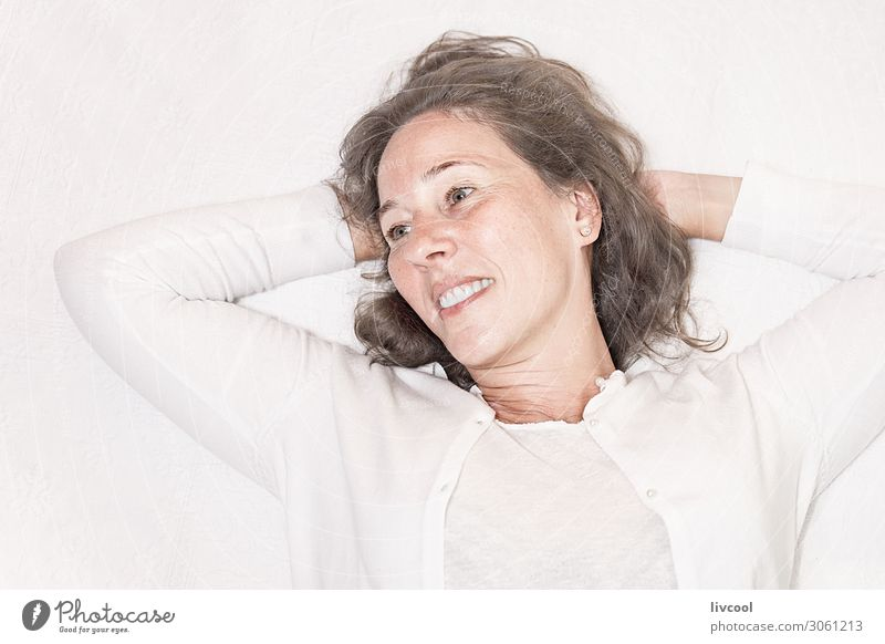 mature woman in relaxing moment Woman Human being Beautiful White Hand Relaxation Joy Face Lifestyle Adults Senior citizen Feminine Emotions Laughter Happy