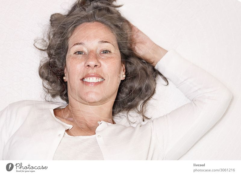 mature woman in relaxing moment III Woman Human being Beautiful White Hand Relaxation Calm Joy Face Eyes Lifestyle Adults Feminine Emotions Laughter