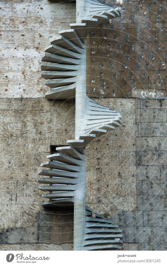 screw on through spiral staircase Construction site Building Architecture Wall (building) Winding staircase Fire wall Concrete Spiral Authentic Long Many