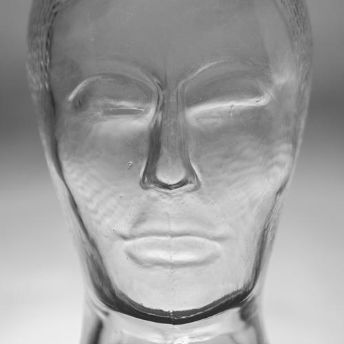 Face of a glass head in black and white Art Glass Think Sadness Esthetic Firm Creepy Cold Modern Gray Black White Emotions Power Humanity Boredom Grief Death
