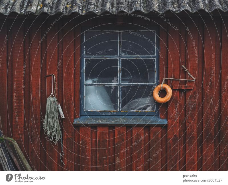 fiskerhus Workplace Fishing village House (Residential Structure) Hut Window Work and employment Old Authentic Fishermans hut Denmark Red Equipment Colour photo
