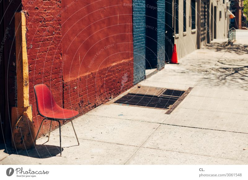 a chair in harlem City trip Furniture Chair Beautiful weather New York City Harlem USA Town Deserted House (Residential Structure) Wall (barrier)