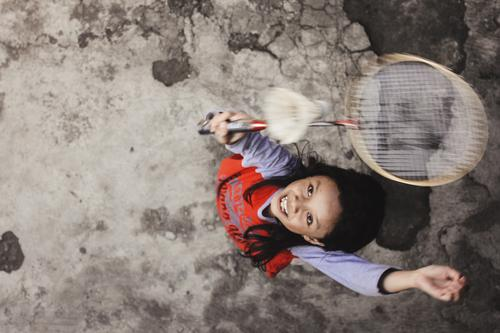 Girl Jumping Playing Badminton Child Human being Sports Infancy Athletic 8 - 13 years