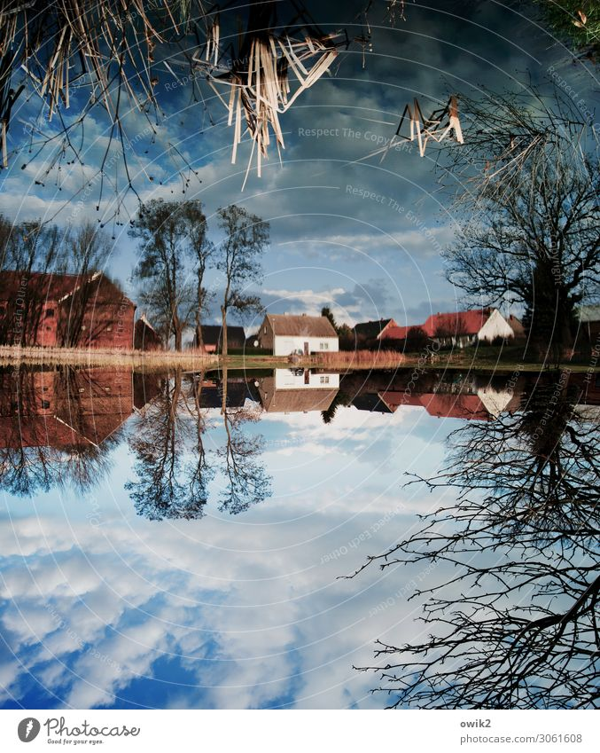 Country under Sky Clouds Horizon Tree Bushes Lakeside Pond village pond Teltow-Fläming district Germany Village House (Residential Structure) Window Door Roof
