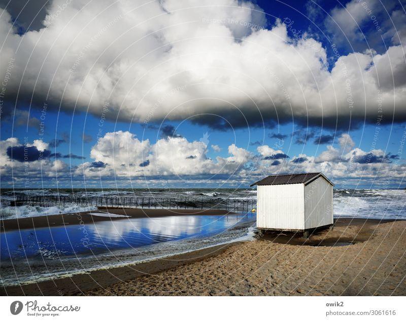 beach house wide Sky Clouds Freedom breathe deeply Longing Wanderlust Beach Coast bank Baltic Sea Poland Kolberg Kolobrzeg Water Sand Horizon Hut cabin White