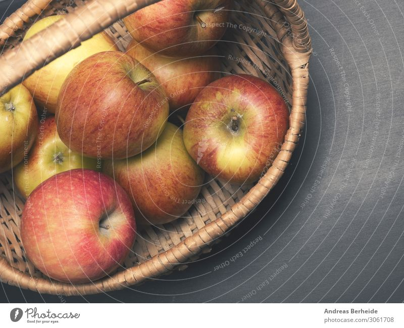 Fresh organic apples in a basket Apple Healthy Eating Summer Delicious Sour self supply chalkboard blackboard copy space cultivation Vegan diet freshness
