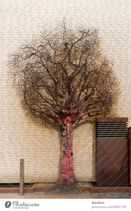 Scrap Emutions Art Work of art Sculpture Building Architecture Metal Rust Culture Modern Cladding Tree Branch Twigs and branches Deserted Red Colour photo