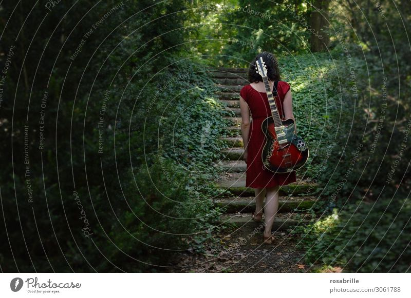 on the road again - musical ascent - brunette young woman walks through the forest with red guitar on her back   alone with guitar in the forest