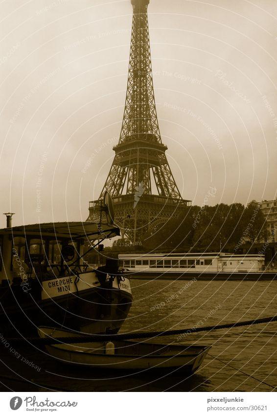 Eiffel Tower Seine Watercraft France Paris Style Architecture
