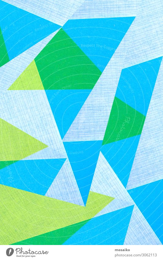 geometric shapes on paper texture - blue and green Colour Happy Style Business Art Fashion Design Bright Line Modern Creativity Paper Simple Illustration