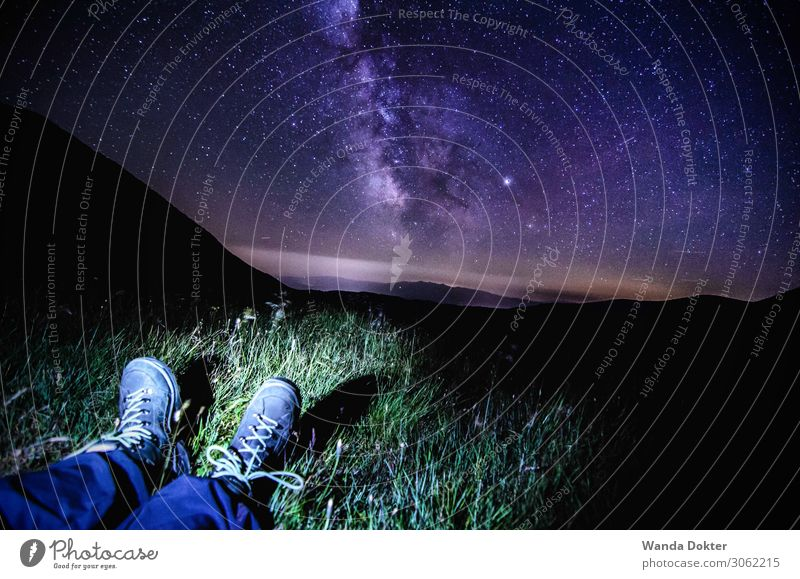 Milky Way hiking in the Alps Feet Nature Landscape Night sky Stars Summer Mountain Footwear Hiking boots Observe Discover Relaxation Glittering Illuminate
