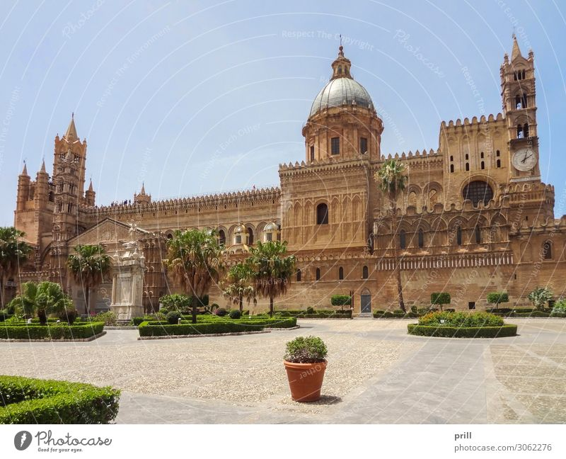 Palermo Cathedral Craft (trade) Art Park Town Old town Dome Marketplace Tower Manmade structures Building Architecture Facade Stone Historic