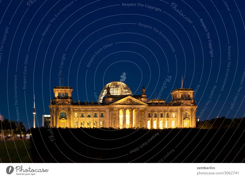 Reichstag at night Evening Architecture Berlin Germany German Flag Dark Twilight Capital city Night Parliament Government Seat of government Government Palace
