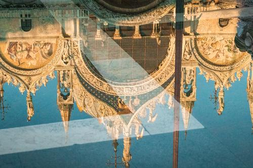 Reflection of St Mark's Basilica Venice Italy Europe Town Dome Places Manmade structures Building Architecture Tourist Attraction Monument Stone Warmth Blue