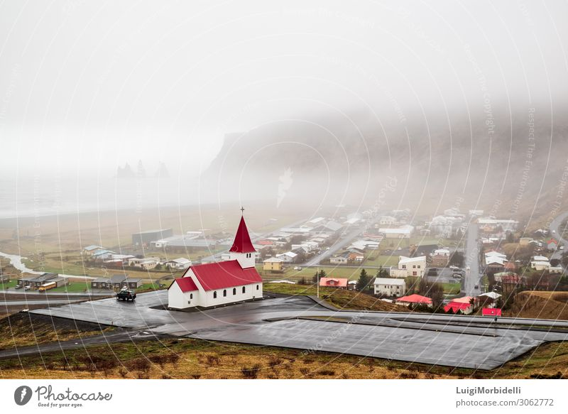 Church in Vik i Myrdal, Iceland Vacation & Travel Tourism Beach Ocean Island Mountain House (Residential Structure) Nature Landscape Sky Fog Hill Rock Coast