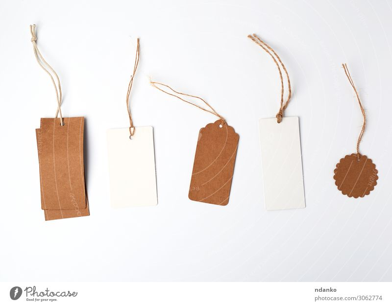 round and rectangular price tags from brown Shopping Craft (trade) Business Rope Paper Packaging String Hang Sell Natural Above Brown White address background