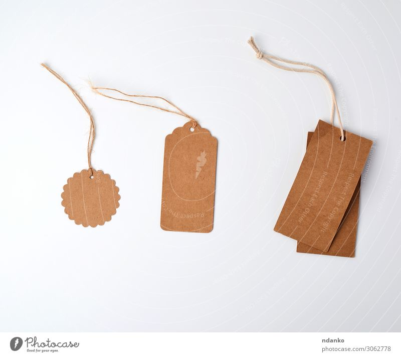 round and rectangular brown paper price tags Shopping Craft (trade) Business Rope Paper Packaging String Hang Sell Natural Above Brown White address background