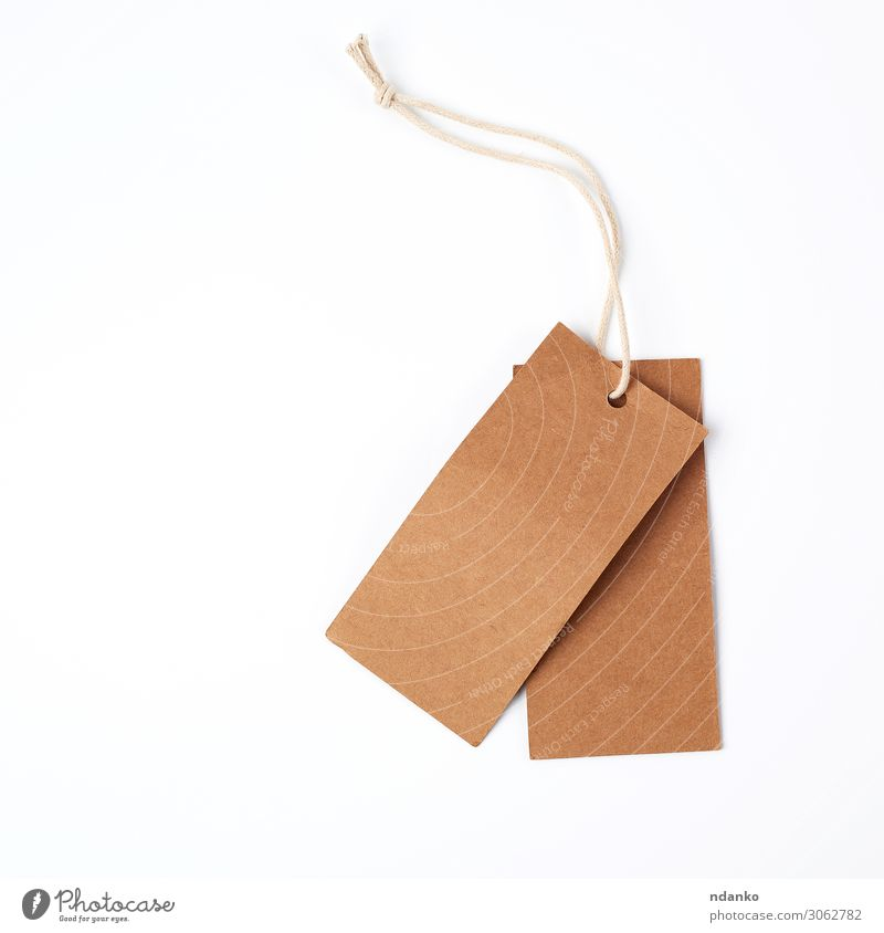 empty paper brown tag on the rope Shopping Craft (trade) Business Rope Paper Packaging Hang Sell Natural Above Brown White Conceptual design address background