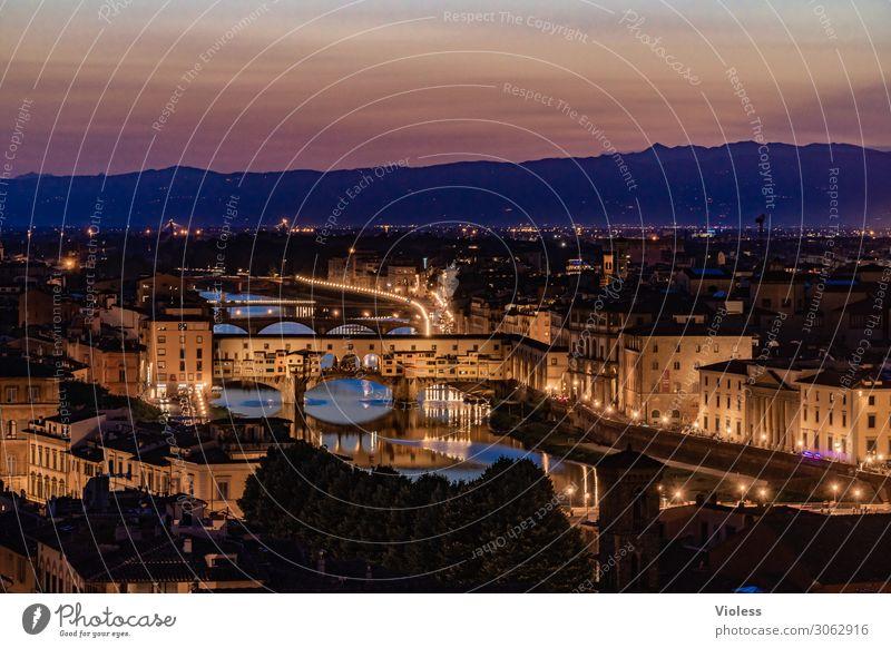 ponte vecchio Ponte Vecchio Florence Arno Bridge Tuscany Night Twilight Italy Medici Villa Lighting River Sunset