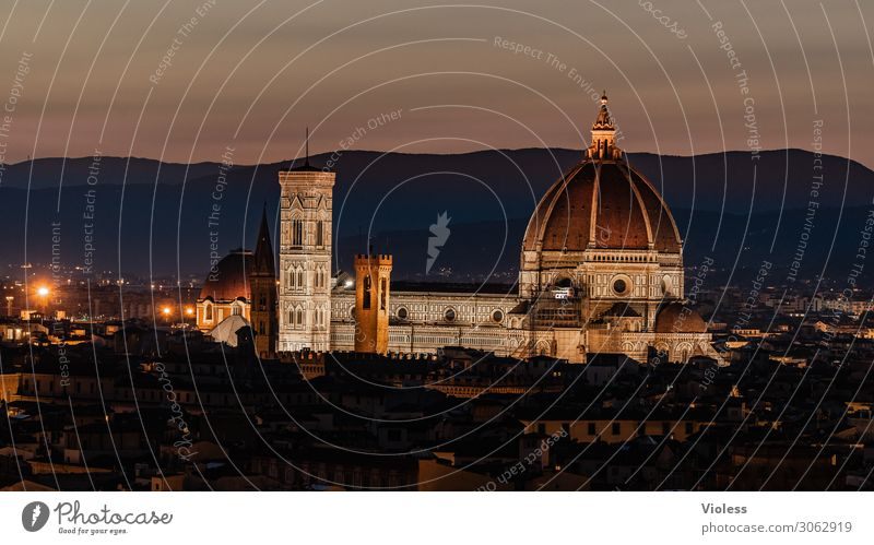 Cathedral of Florence Tuscany Cradle of the Renaissance Piazzale Michelangelo Cathedral Santa Maria del Fiore Italy Sunset Light bishop's church Twilight Arno